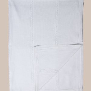 Fancy White Christening Blanket with Cable Knit Pattern