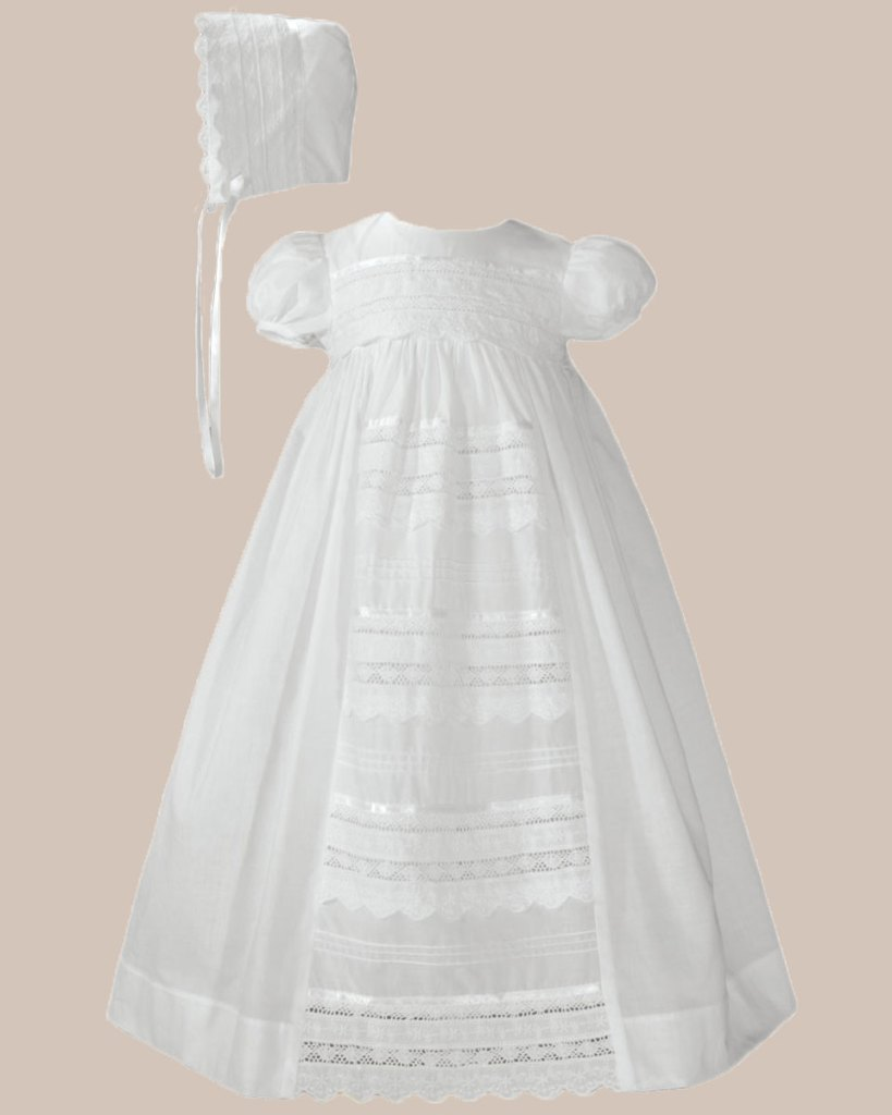 """Girls 26"""" Cotton Dress Christening Gown Baptism Gown with Venise Lace"""