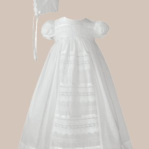 "Girls 26"" Cotton Dress Christening Gown Baptism Gown with Venise Lace"