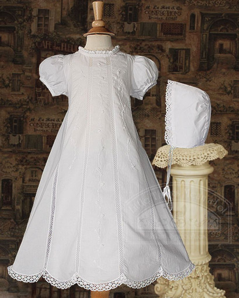 """Girl 26"""" Cotton Heirloom Christening Gown with Hand Embroidery and Lace"""
