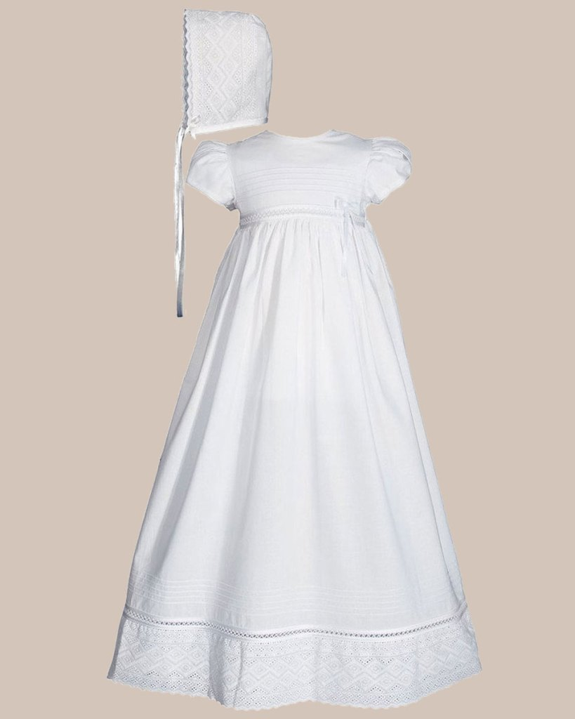 """Girls 30"""" White Cotton Dress Christening Gown Baptism Gown with Lace"""