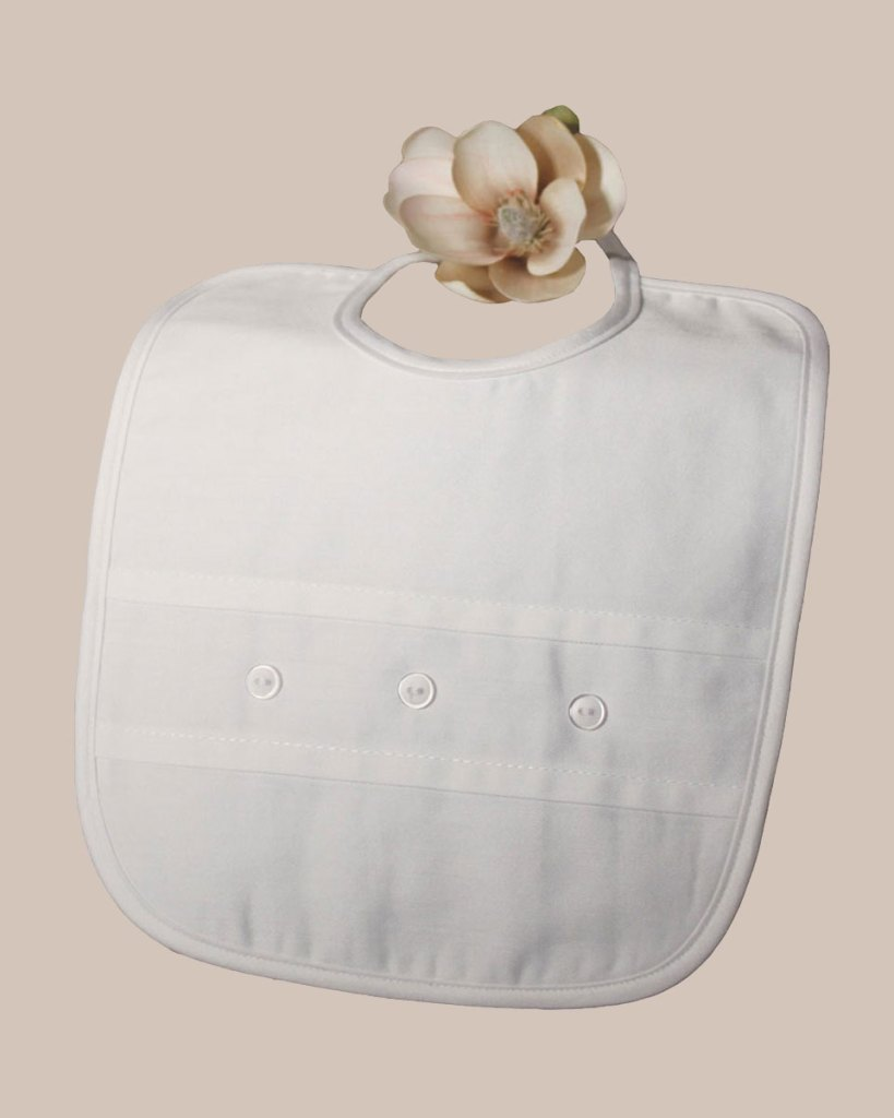 White Cotton Sateen Bib with Buttons
