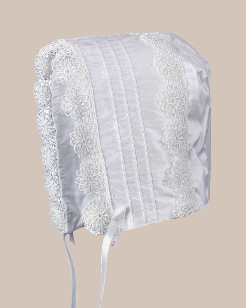 Baby Girls White Silk Christening Baptism Hat with Pin Tucking and Lace Trim