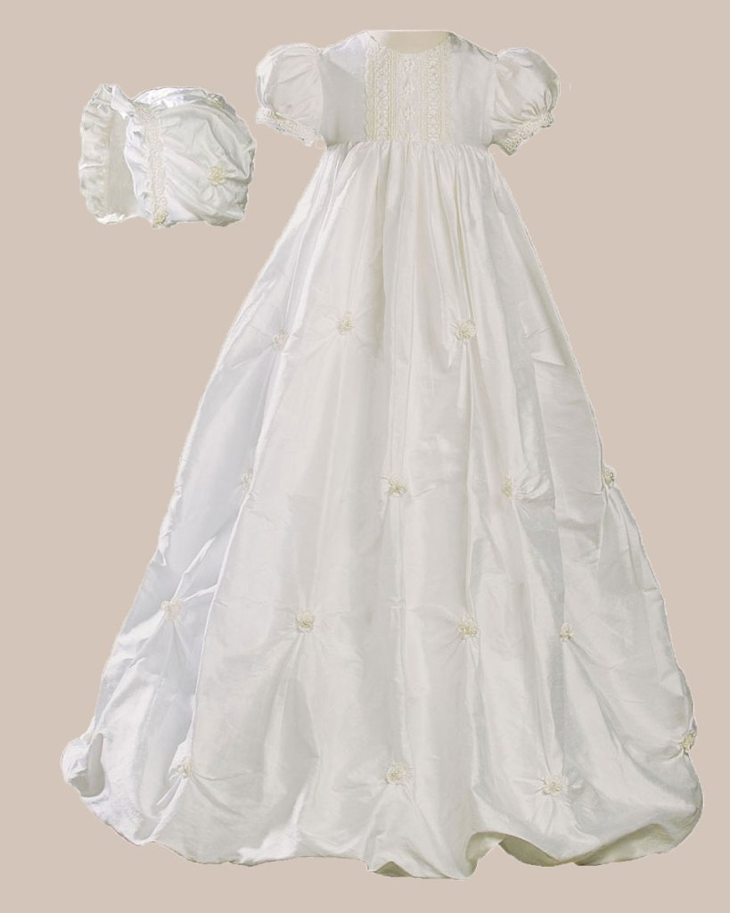 """Girls 33"""" Silk Bubble Christening Baptism Gown with Natural Venise Lace and Rosettes"""