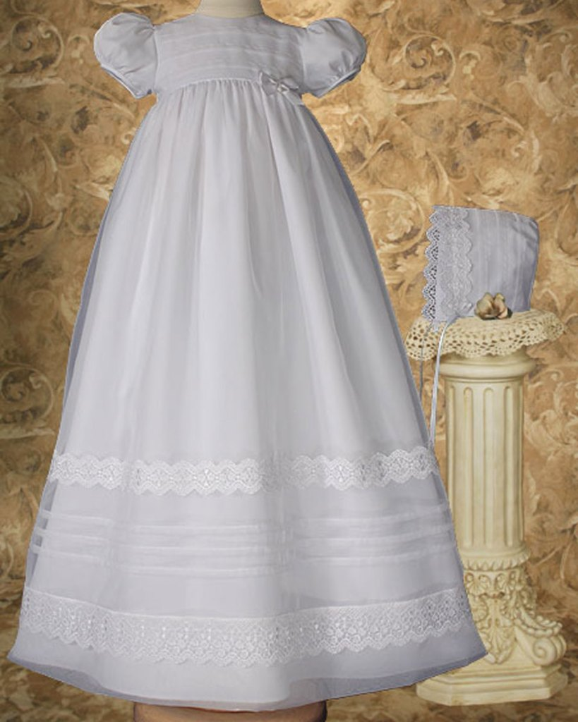 """Girls 34"""" Poly Cotton Organza Christening Gown with French Lace and Pin Tucking"""