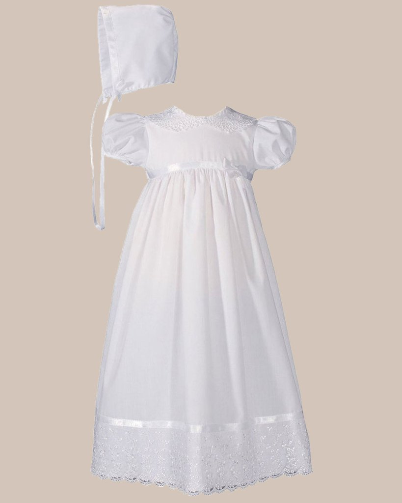 """Girls 24"""" Poly Cotton Christening Baptism Gown with Lace Collar and Hem"""