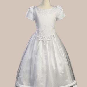 White Satin Communion Baptism Dress with Tulle Skirt