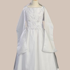White Satin Communion Baptism Dress with Beaded Applique
