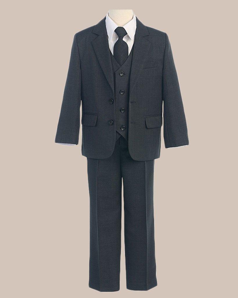 5-Piece Boy's 2-Button Jacket 4-Button Vest Husky Dress Suit - Charcoal
