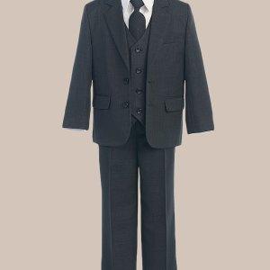 5-Piece Boy's 2-Button Jacket 4-Button Vest Dress Suit - Charcoal