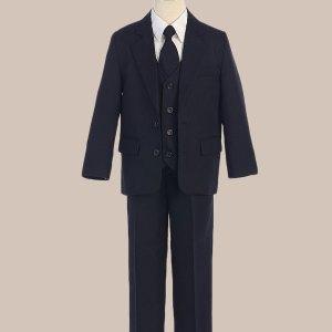 5-Piece Boy's 2-Button Jacket 4-Button Vest Dress Suit - Navy Blue