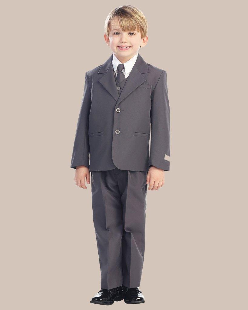 5-Piece Boy's 2-Button Dress Suit - Charcoal Gray