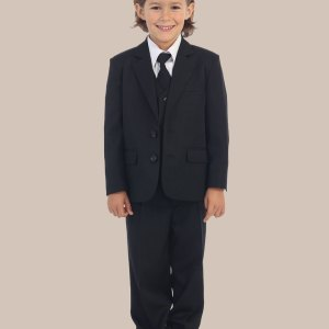 5-Piece Boy's 2-Button Dress Suit Tuxedo - Black