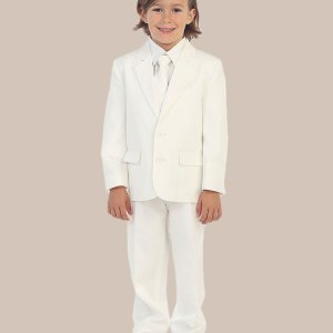 5-Piece Boy's 2-Button Dress Suit Tuxedo - Ivory