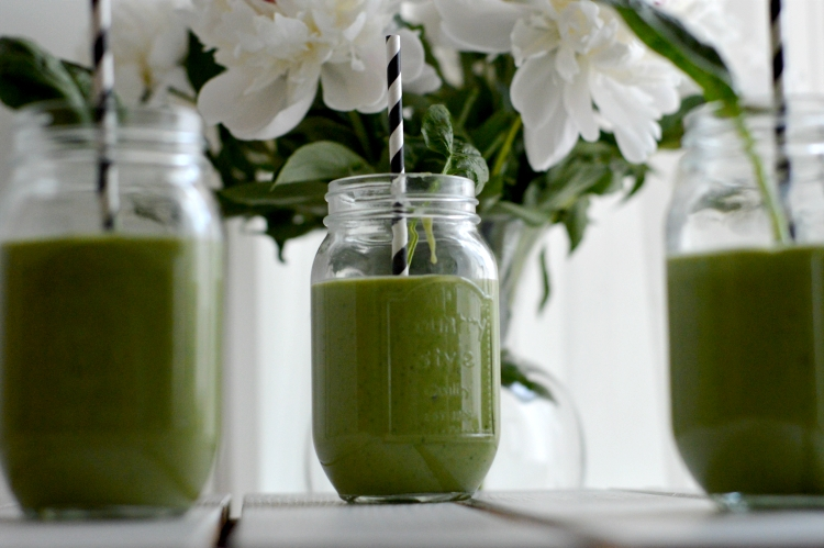 Green smoothie with avocado, melon and cucumber…