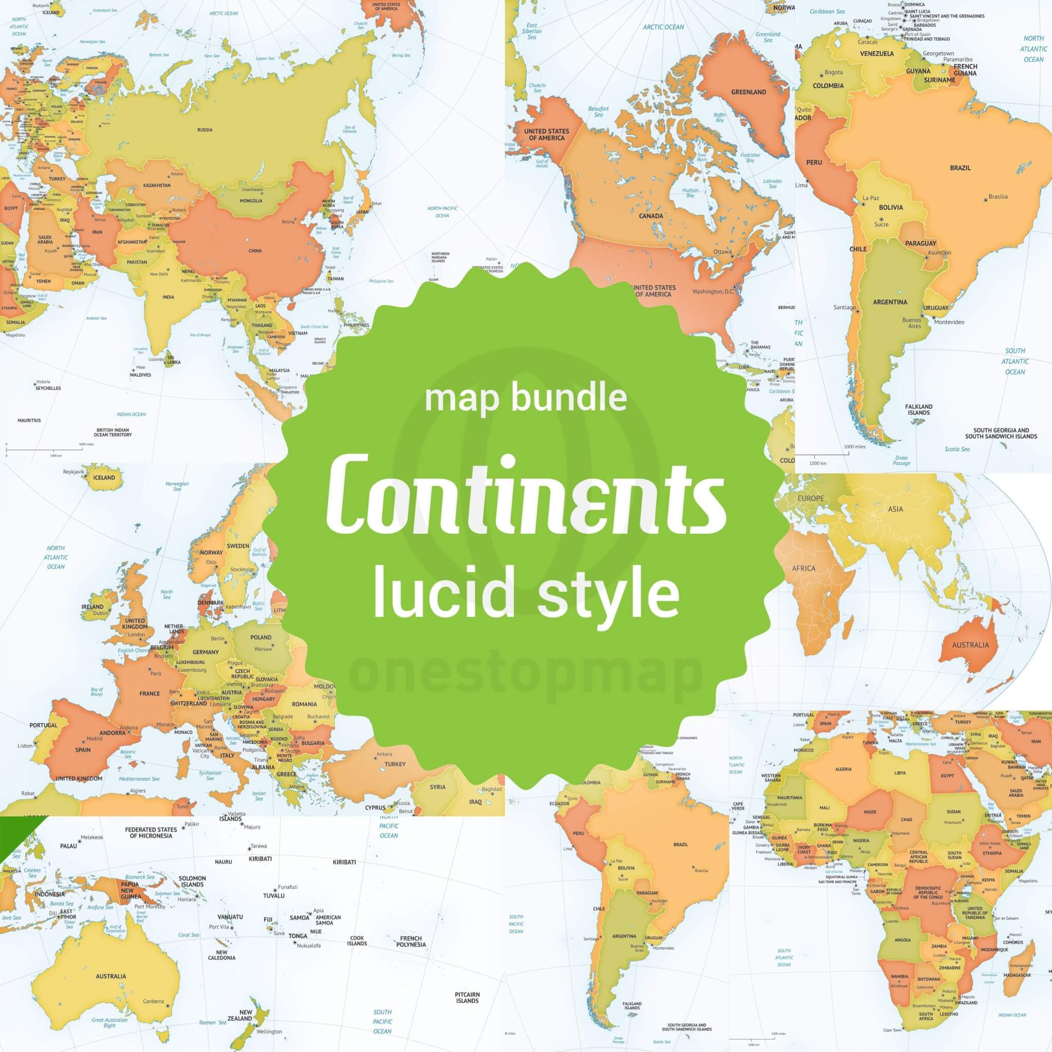 8 Vector Maps Bundle Of All Continents Of The World