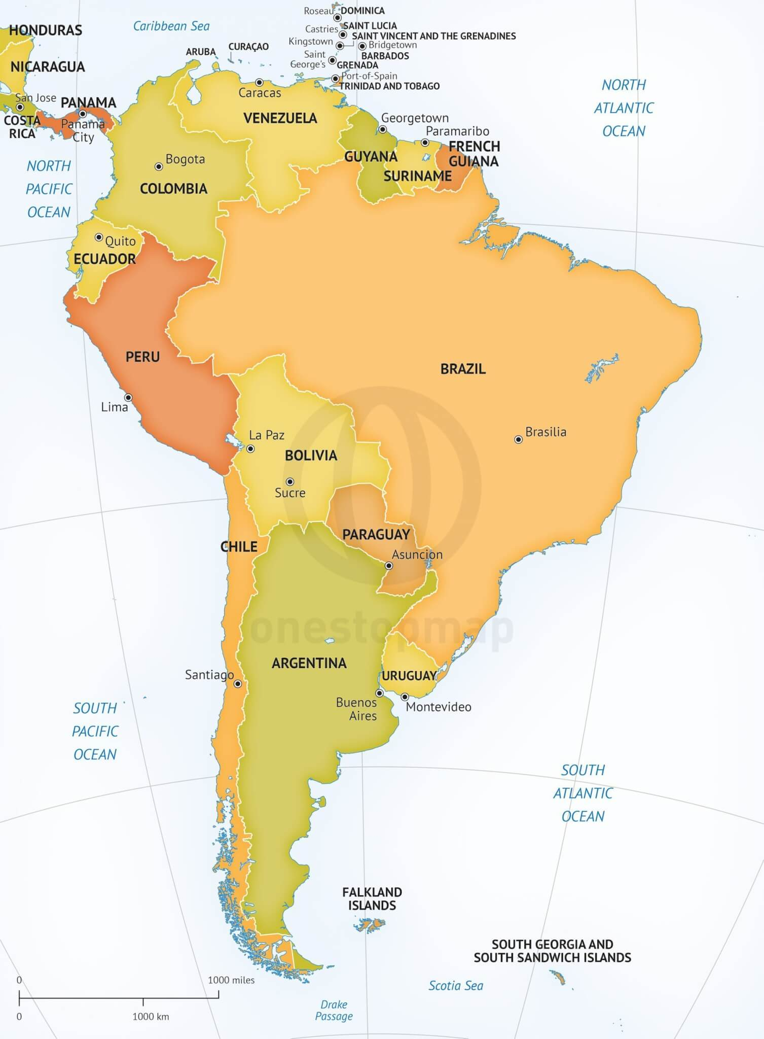Vector Map Of South America Political