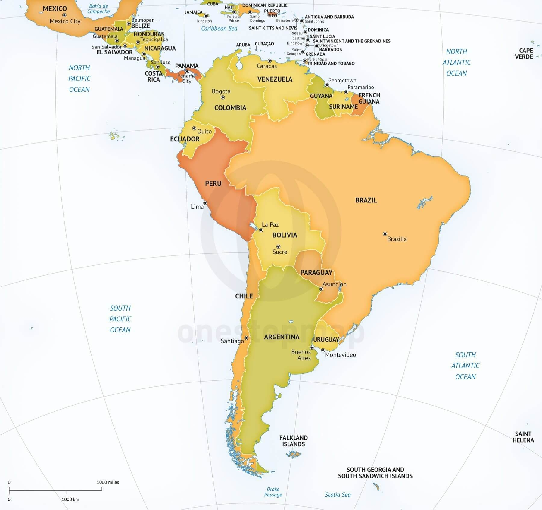 Vector Map South America Continent Political