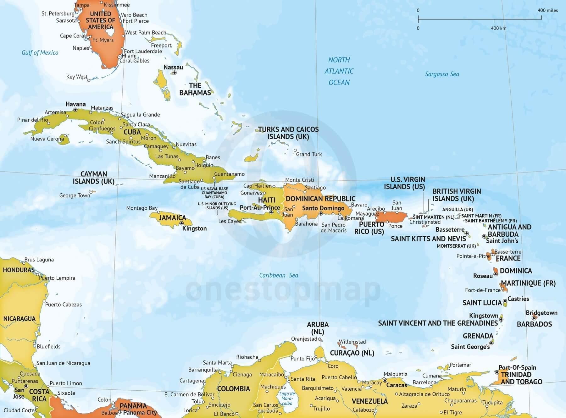 Vector Map Of Caribbean Political Bathymetry