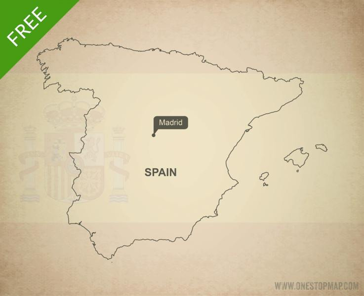 Free Vector Map of Spain Outline   One Stop Map Map of Spain outline