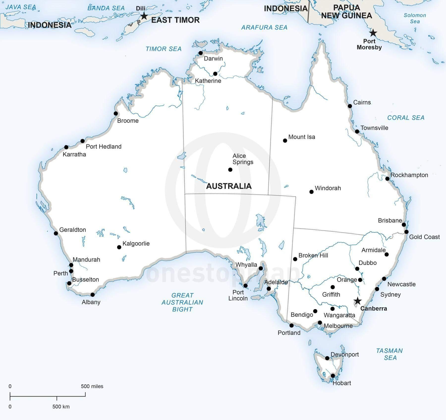 Oceania Physical Blank Map