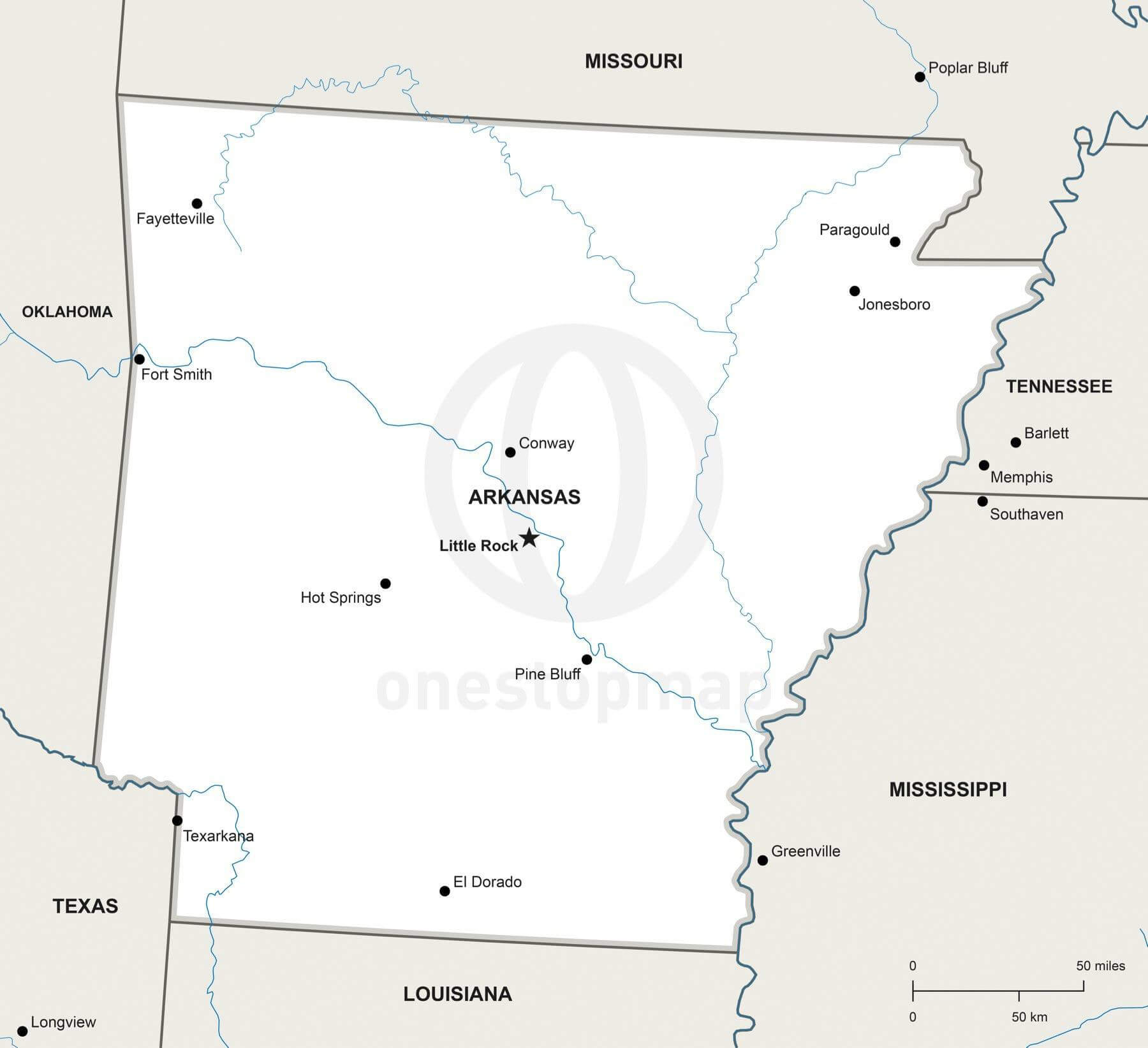 Vector Map Of Arkansas Political