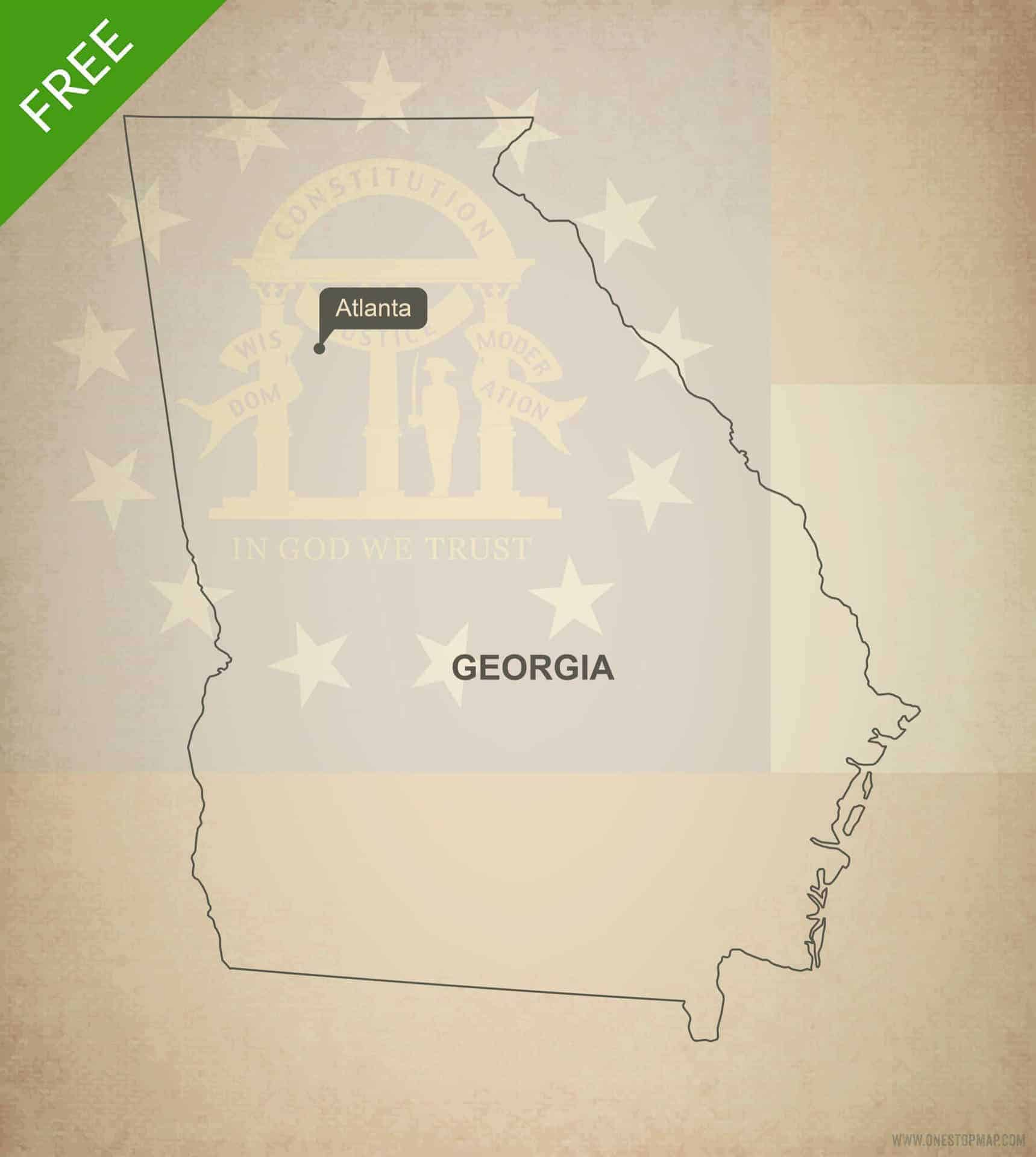 Free Vector Map Of Georgia Outline