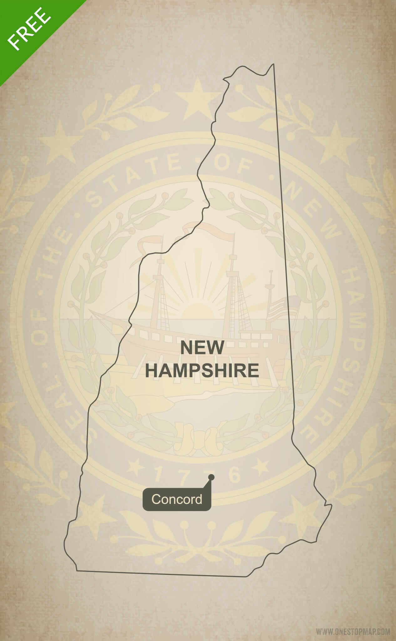 Free Vector Map Of New Hampshire Outline