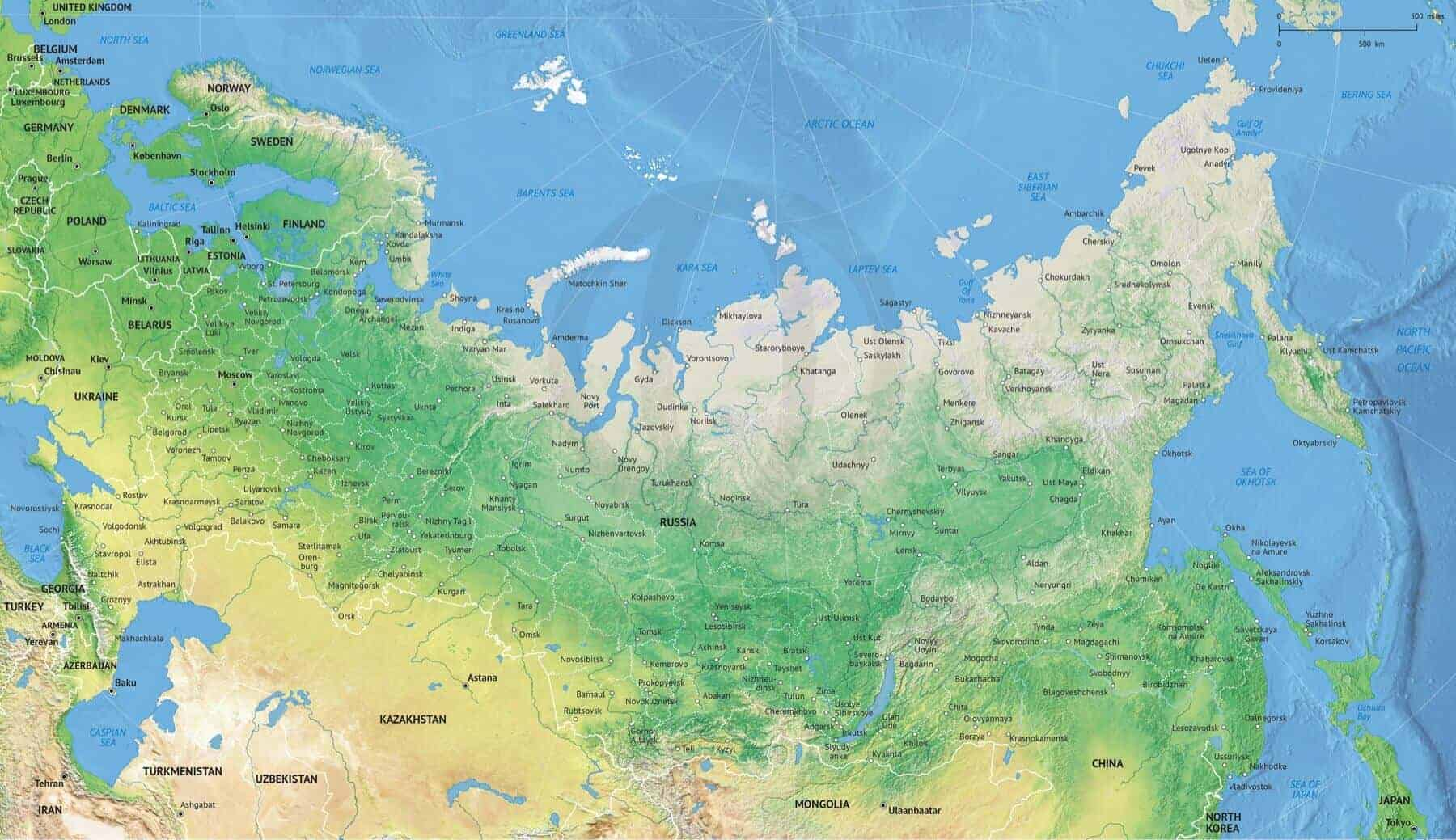 Vector Map Russia Political With Shaded Relief