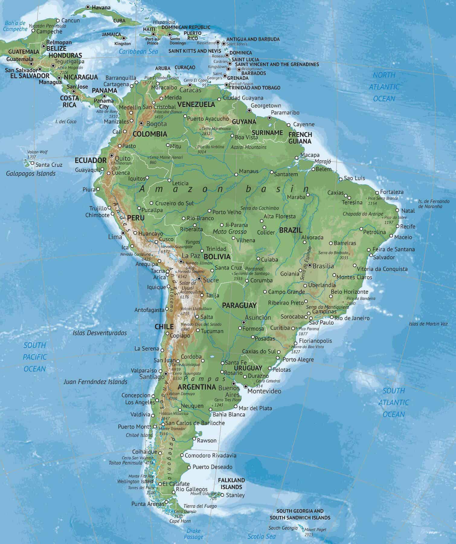 Vector Map South America Continent Physical