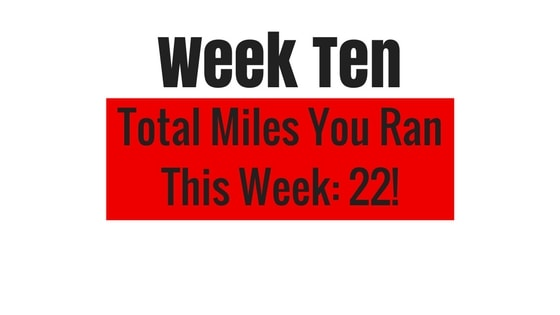 a graphic showing the total distance run in week 10 of my tough mudder training plan