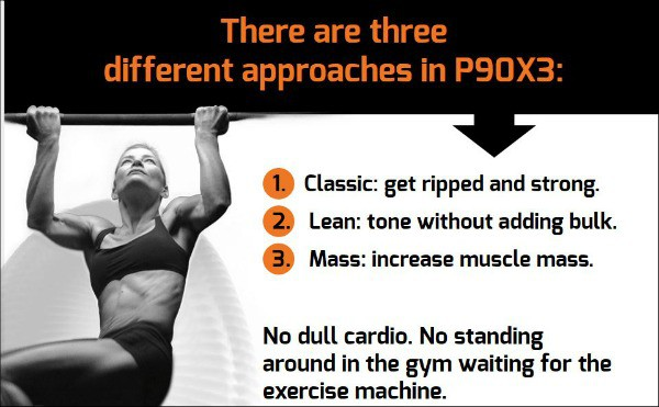 the P90X3 infomercial page