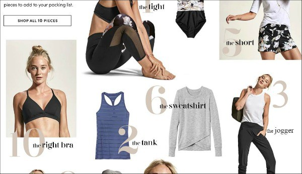 a product page from Athleta--one of the top gym apparel sites for women