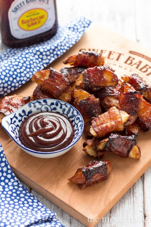 Tailgating Recipes Bacon Wrapped Potato Skins with Barbeque Sauce