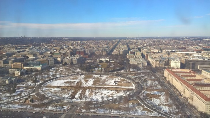At the top of the Washington Monument. Can you spot The White House?