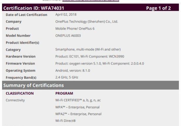 OnePlus 6 Appeared On Wi-Fi Certification Site, Expected To Launch ...