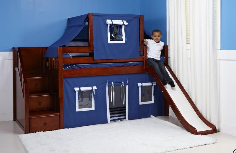 bunk bed with slide chestnut