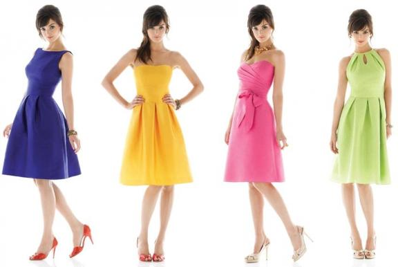 Fun, flirty and colorful bridesmaids dresses from The Dessy Group's Alfred Sung collection