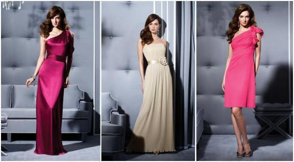 Chic and elegant Dessy Collection bridesmaids dresses in burgundy, champagne, and bright coral pink