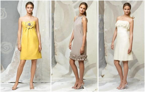 Sweet and romantic Lela Rose bridesmaids dresses in yellow, taupe and white