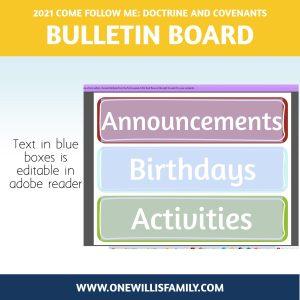 LDS Primary Bulletin board