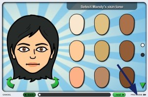 Face colour selection