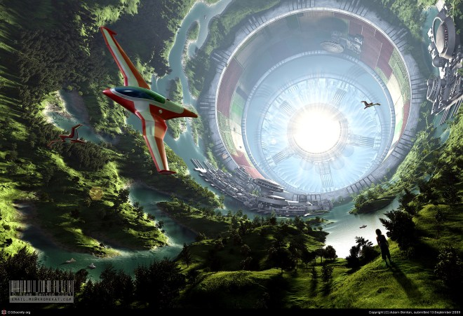 An airplane flying inside a huge O'Neill Cylinder World, a self-contained fully sustainable environment