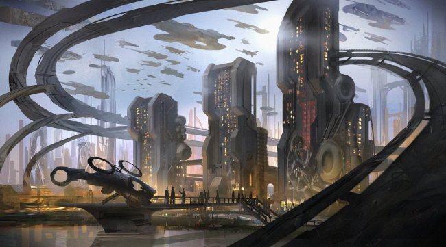 Scifi city by the river