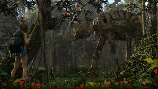 A lady finding a rusty AT-AT from Star Wars in the woods