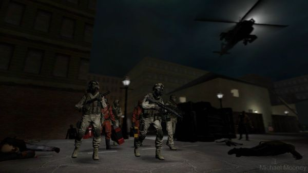 Raven 2-1 had drawn the short straw, being sent deep into quarantined Boston to escort two CDC agents on a sample-gathering mission. Even with helicopter support, Lieutenant Hendricks was nervous about going face-to-face with the infected. As they set down in the red zone, they couldn't help but feel like this was a huge mistake....