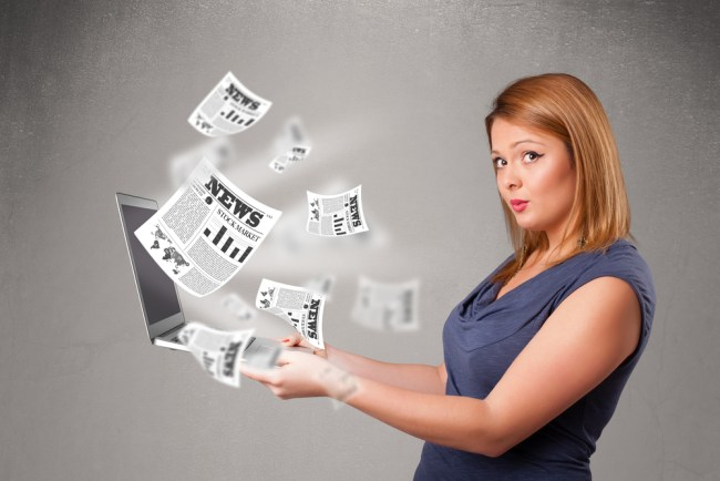 Woman with newsletter