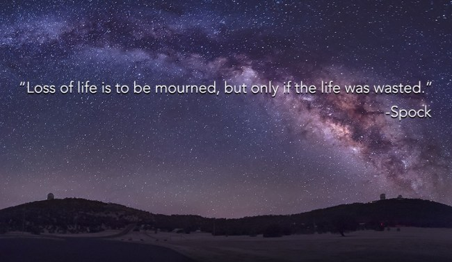 loss of life is to be mourned, but only if life is wasted