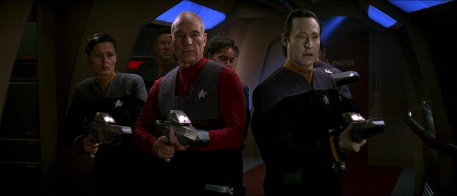 Picard with Phaser rifle