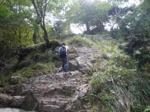 少し険しい山道